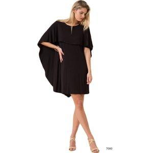 Black Ruffle Bat Wing Mini Little Black Dress
